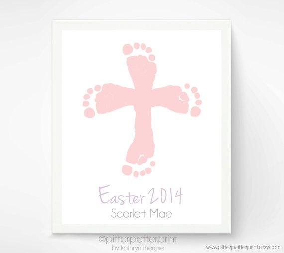 Easter Baby Footprint Art,  Easter Cross Wall Art Print, Baby's First Easter, Pastel Religious Cross Wall Decor,