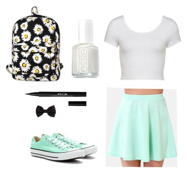 """""""Mint summer outfit"""" by dadacookie on Polyvore featuring Converse, Motel, H&M, Stila and Essie"""