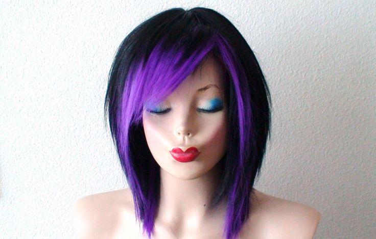 black purple wig black scene hair wig black purple