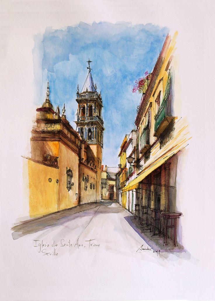 Iglesia de Santa Ana, Sevilla. Acuarela y Tinta. 407x297mm. Papel canson 300gr