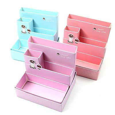 Caja de almacenamiento de papeles para Escritorio Decoración Papelería Maquillaje Cosméticos Organizador Caso Hágalo usted mismo