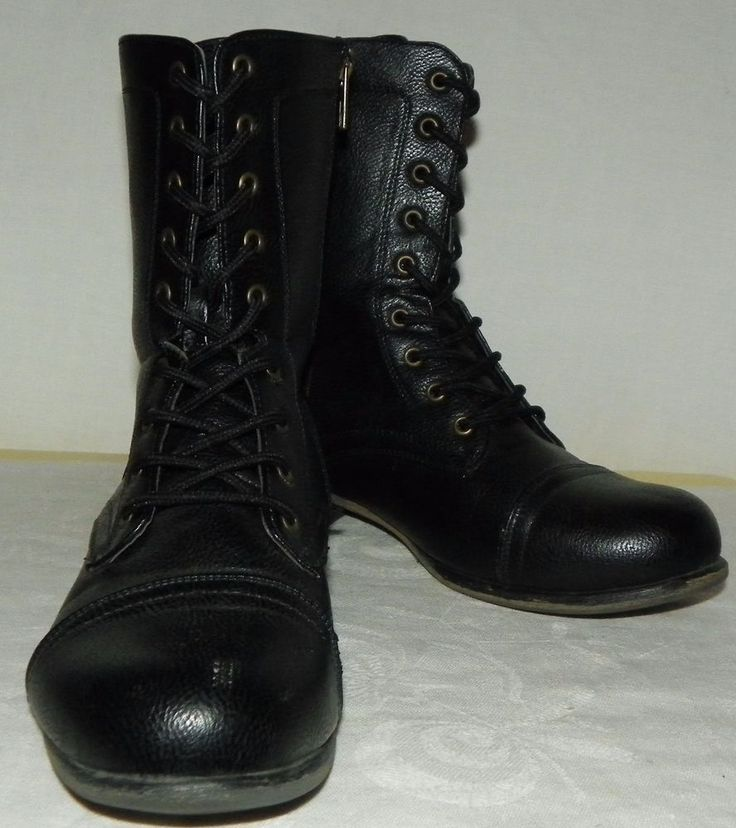 Bamboo Ladies Black Boots Lace and Zip Combat Toe 9 Inches Tall Size 9 M #Bamboo #CombatBoots #Casual