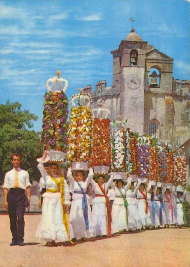 postal ilustrado Festa dos Tabuleiros
