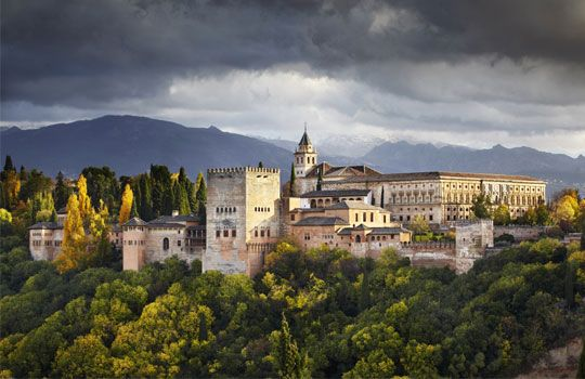 Alhambra Palace in autumn, Granada, Andalusia, Spain (© Richard Taylor/4Corners Images)