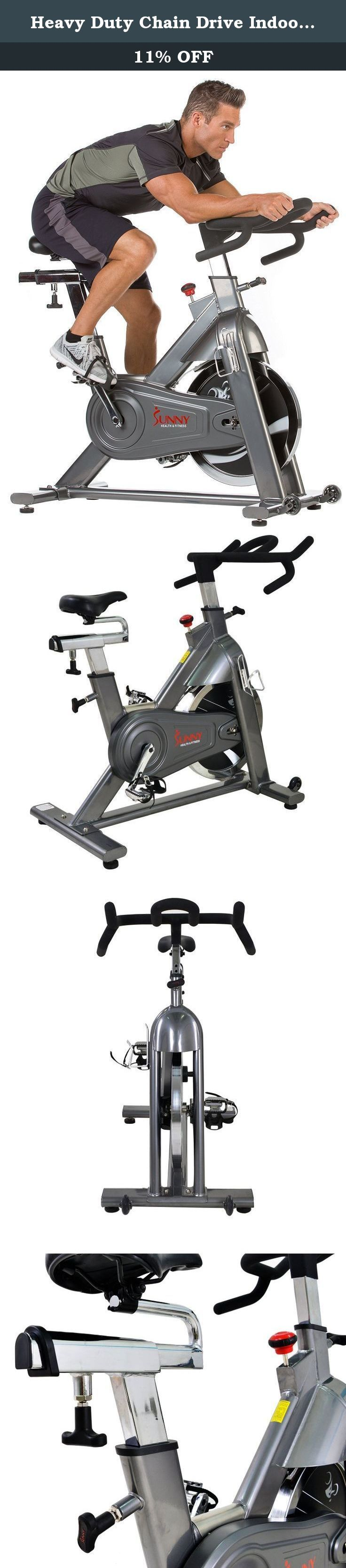 Heavy Duty Chain Drive Indoor Cycling Exercise Bike by Sunny Health & Fitness – SF-B1516. Spin into shape with the top of the line Sunny Health & Fitness SF-B1516 commercial cycling bike! this bike offers all of the necessities for an intense yet enjoyable cycling workout at the gym or at the comfort of your own home. With a newly improved and easy-to-replace crank shaft system, 48.5 lb chromed solid flywheel, fully adjustable seat and height adjustable handlebars, Micro adjustable...