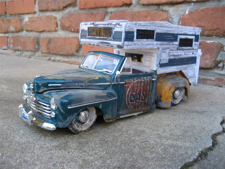Ford Pickup Truck >> 1948 Ford Convertible Pickup with Camper Rat Rod Custom Built 1/18 | Ford convertible, Rats and ...