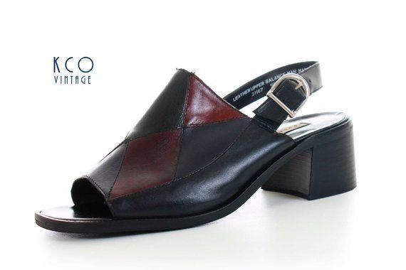cab1025f7dc06 Patchwork Leather Mule Slingback Sandals 90s Vintage Apostrophe ...