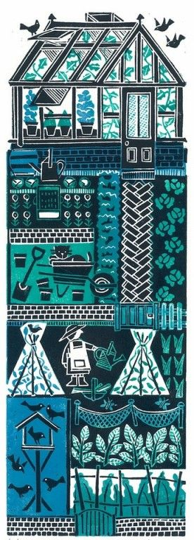 """Greenfingers"" by Susie Lacome (linocut)"