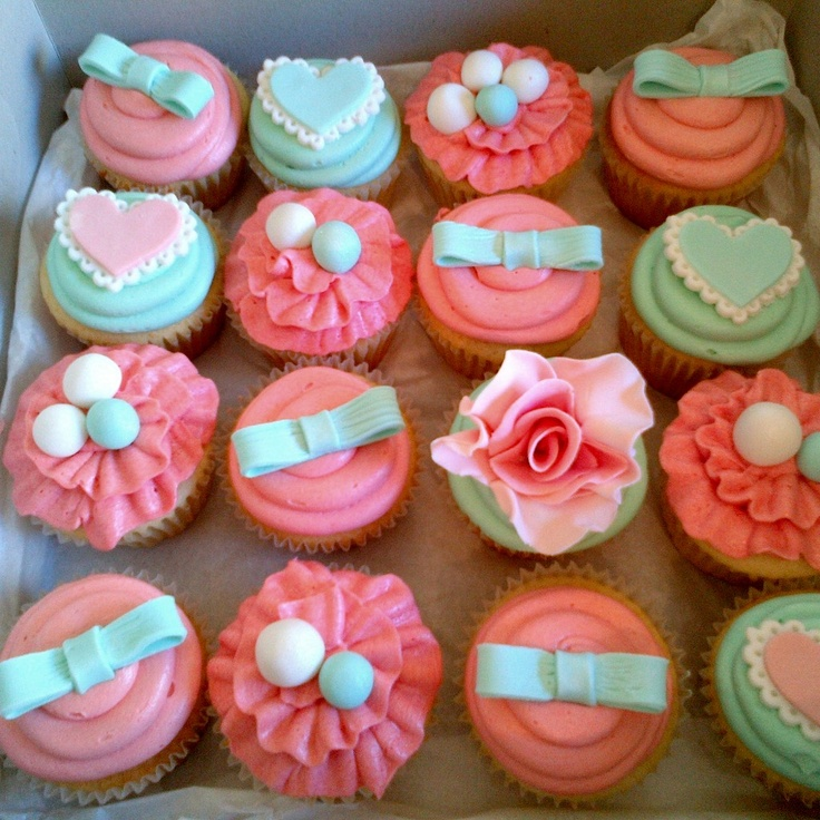 mint & coral cupcakes for a champagne and cupcake birthday celebration