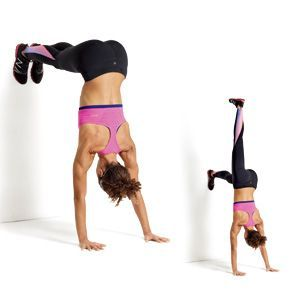Works your upper back and shoulders: Place your heels against the bottom of a wall, bend forward, and position your hands shoulder-width apart on the floor. Walk your feet up the wall until your legs are parallel to the floor and your body forms a 90-degree angle (a); this works your upper back and shoulders. Raise your right leg to activate your core (b). Reverse to return to start. That's one rep. Do 10.