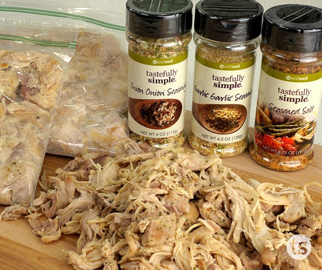 Make & Freeze Chicken Recipe │Perfectly seasoned chicken made with wholesome ingredients in your slow cooker.  Freeze it in 2-cup packs so you have it ready for easy meals.