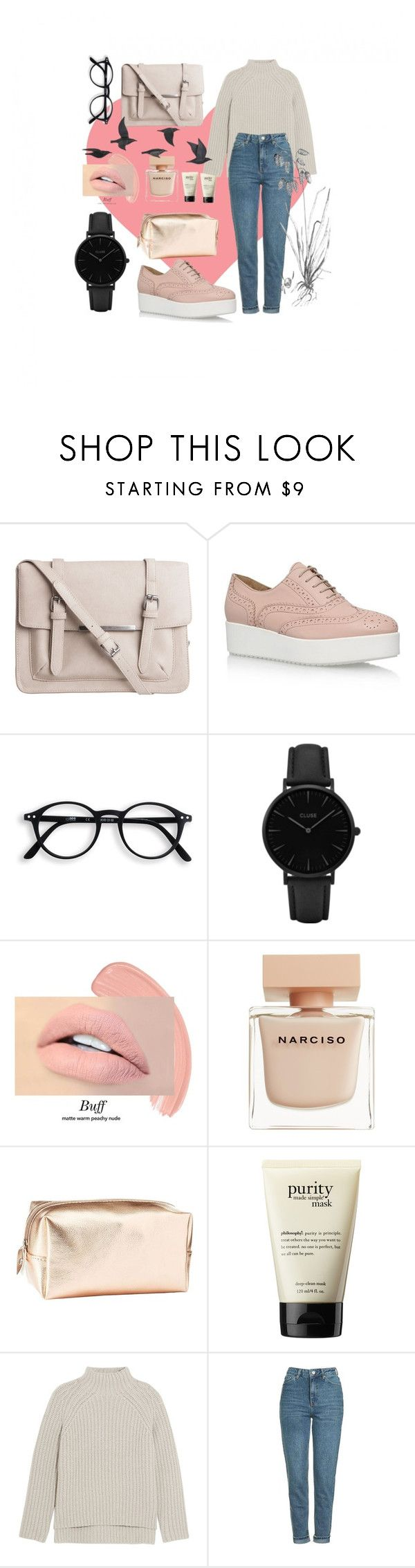 """Valentine day look"" by veronikaokhrin ❤ liked on Polyvore featuring Pieces, Carvela Kurt Geiger, CLUSE, Narciso Rodriguez, Charlotte Russe, philosophy, Theory, Topshop and Jayson Home"