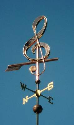 """G"" Treble Clef Musical Note Weathervane by West Coast Weather Vanes. This handcrafted musical note weathervane can be custom made using a variety of materials."