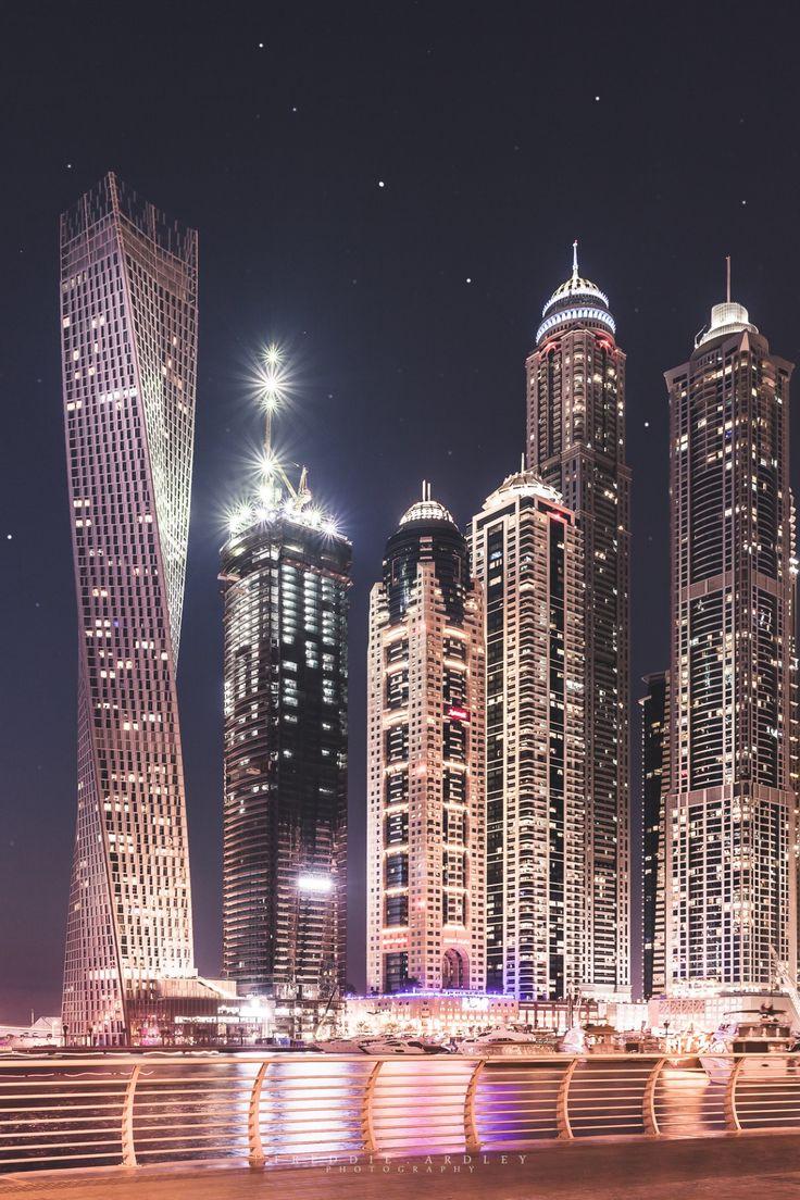 Dubai Marina Skyline at Night by Freddie Ardley Photography