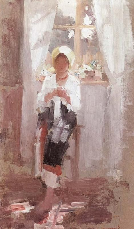 Peasant Sewing by the Window, Nicolae Grigorescu