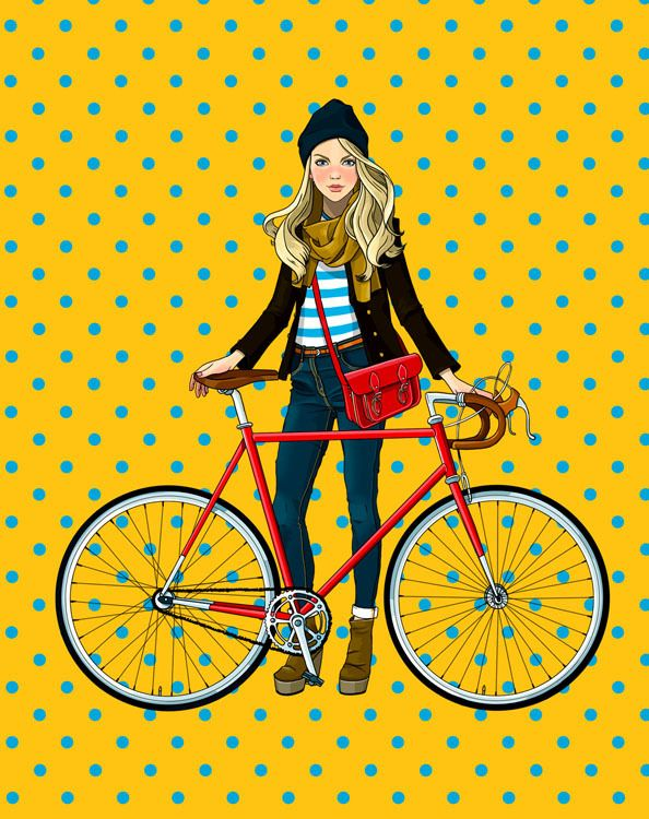 Anna Lazareva illustration with girl and bike