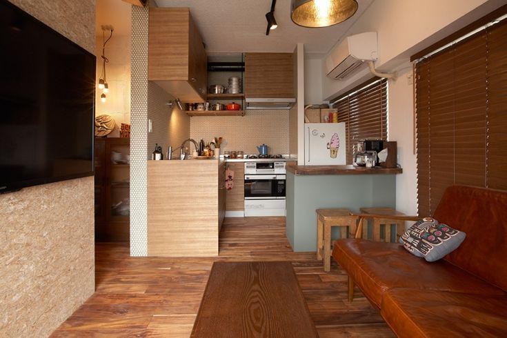 リビング・キッチン1(ヴィンテージマンションで渋カッコよく暮らす – circle -) - リビングダイニング事例 SUVACO(スバコ)