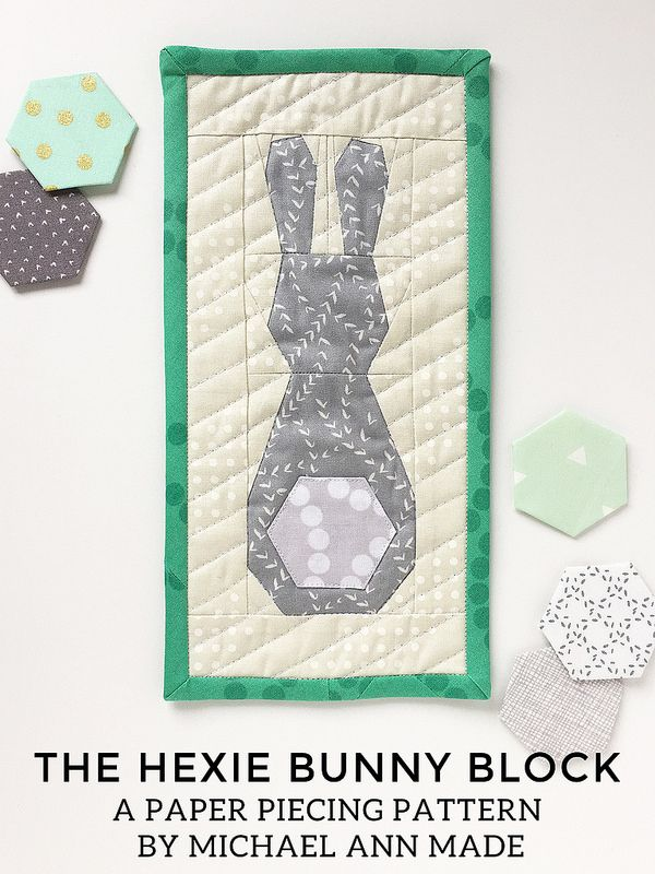 "Hexie Bunny Block-paper piecing This quick little guy, with the cutest 1"" hexie tail, is sure to put a little hop in your step this spring. This paper pieced block finishes at just shy of 3"" x 8"", and uses a standard 1"" English paper pieced hexie for his tail. The PDF pattern includes not only paper piecing patterns and construction tips, but measurements for sashing to finish him into a 5"" x 10"" Mini Mini Quilt."