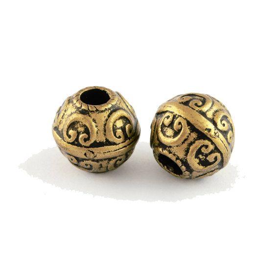 2 perline etnic bronzo antico terrore