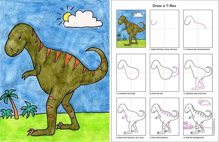 Art Projects for Kids: How to Draw a T-Rex. #artprojectsforkids