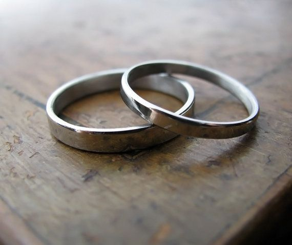 Palladium wedding band set 2mm and 3mm by junedesigns on Etsy, $465.00