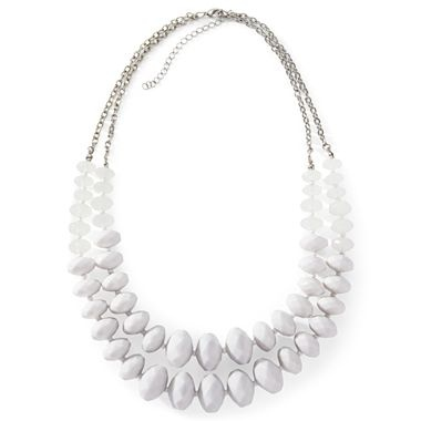 White Beaded Double-Row Long Statement Necklace - jcpenney