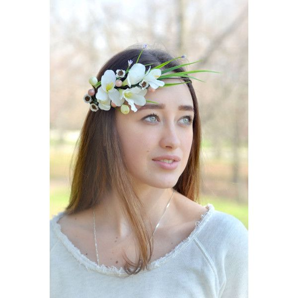 Bridal flower crown White Flower Crown Wedding halo Freesia... (£24) ❤ liked on Polyvore featuring accessories, hair accessories, white floral garland, boho hair accessories, floral crown, white crown and white garland
