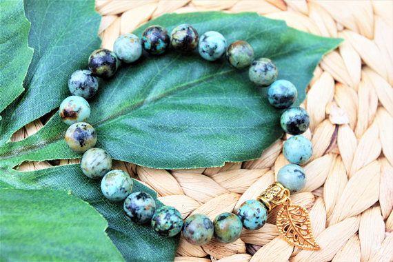 Turquoise Aqua Green Beaded Bracelet  Mens Beaded Bracelet