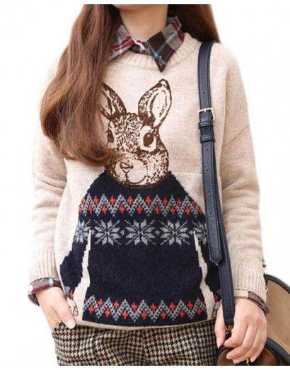 Животное Кролик Распечатать Вязаный свитер Повседневная Свободные свитер