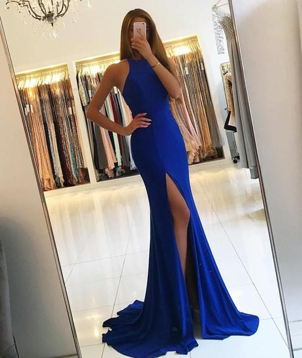 Royal Blue Cut Out Waist Prom Dresses Long Mermaid Sexy Party Graduation Dresses High Slit Evening Dresses Formal Gowns for Women MT20189287