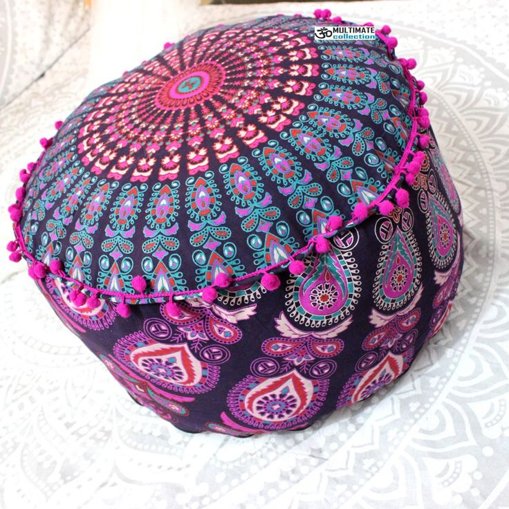 Indian Pouf Cover Bedroom Ottoman Cotton Pouf Footstool