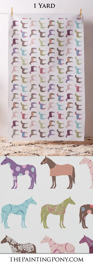 horse horse fabric by the yard - for all the DIY crafting and sewing projects. Great for any horse lover and equestrian. Has a fun and colorful pattern of horses with polka dots and floral patterns and horse blankets.