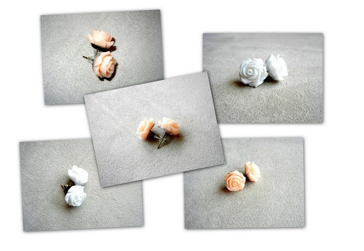 Brincos com flor (Branco e Coral)