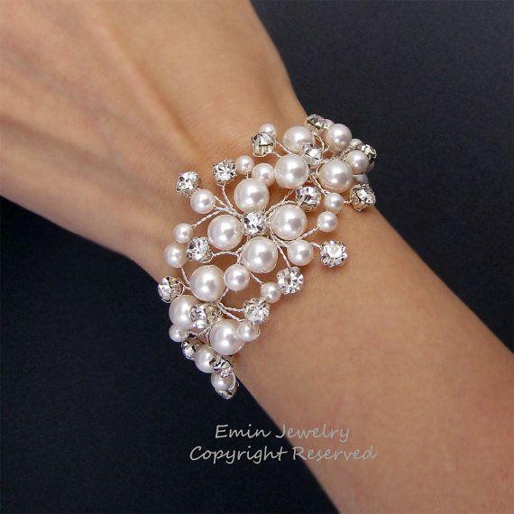 Bridal Bracelet Wedding Cuff Bracelet White by eminjewelry on Etsy, $65.00