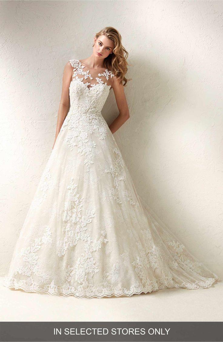 Main Image - Pronovias Dracme Illusion Bodice Lace A-Line Gown