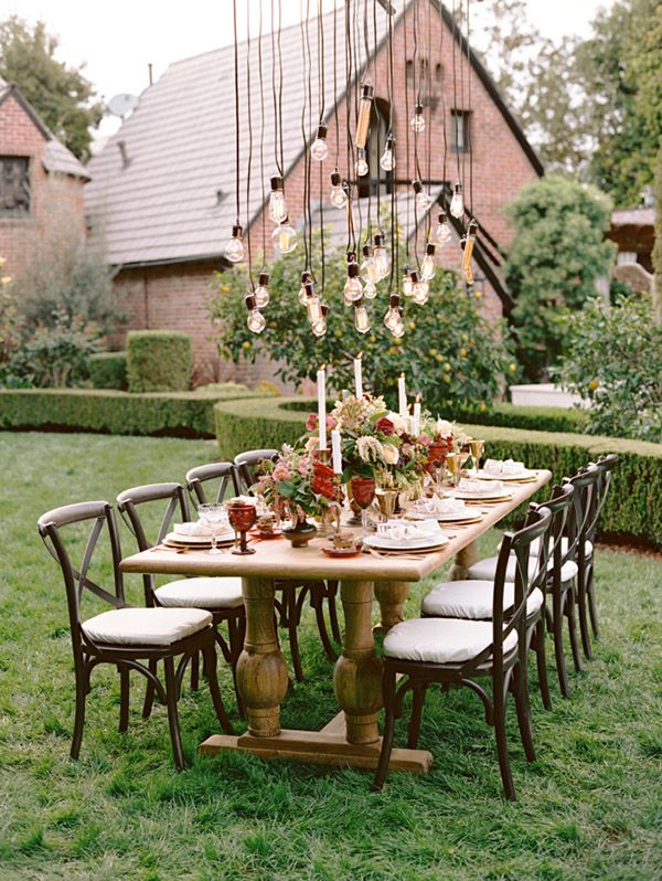Country Backyard Wedding Ideas a sweet relaxed shabby chic backyard wedding fab you bliss Rustic Backyard Wedding Reception Decoration Ideas With Hanging Lights
