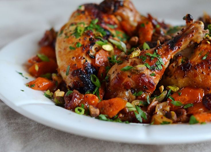 Roast chicken, dates and carrots marinated in honey and citrus. Herbs, scallions and pistachios are added for freshness, color, and crunch.