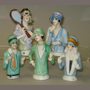 Five Flapper half-dolls
