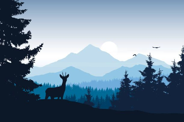 Realistic Vector Illustration Of Mountain Landscape With Forest Deer Landscape Silhouette Landscape Illustration Mountain Landscape