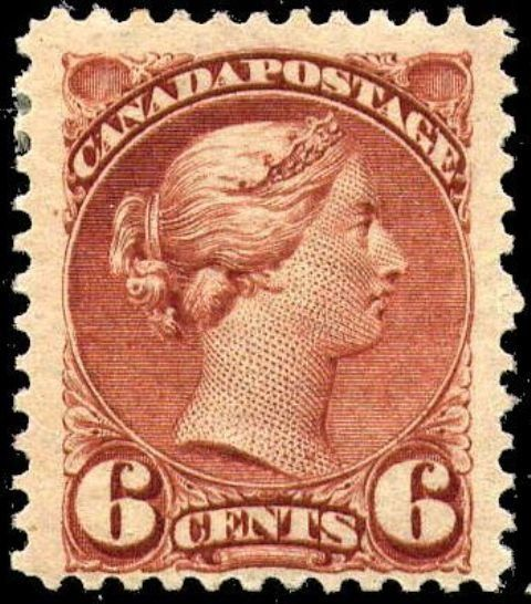 Stamp: Queen Victoria - red brown (Canada) (Queen Victoria Small Queen Issue) Mi:CA 30abA,Sn:CA 43,Yt:CA 32a,Sg:CA 107