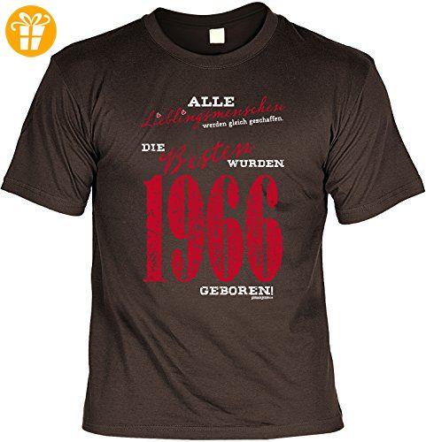 T-Shirt zum Geburtstag - Lieblingsmenschen - Die Besten wurden 1966 geboren! - Geburtstagsgeschenk - Fun shirt - braun (*Partner-Link)
