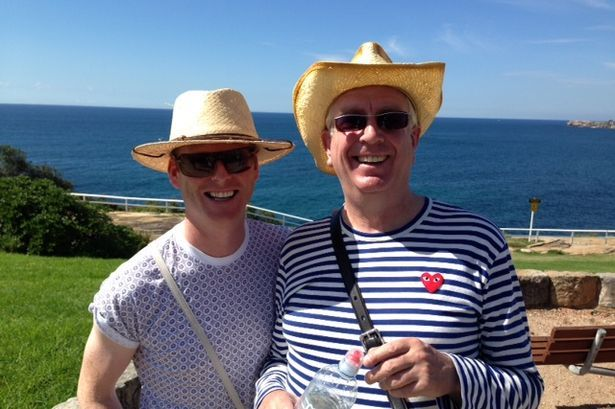 Gary Hollywood who plays Dino and Rory Cowan who plays Rory Brown in Mrs Brown's Boys have a day at Bondi beach