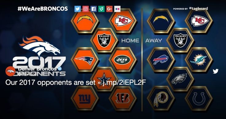 DENVER - The Denver Broncos tweeted their 2017 matchups for home and away games. The dates are not yet set