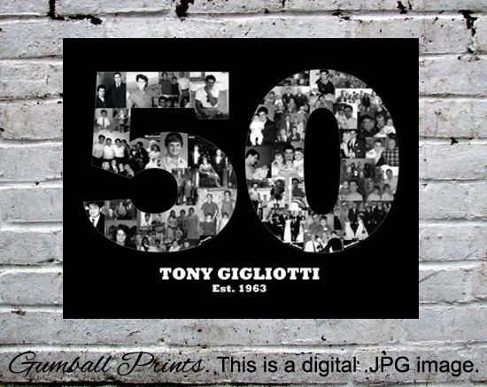 50th Birthday. Milestone Birthday Poster. This is by GumballPrints, $45.00