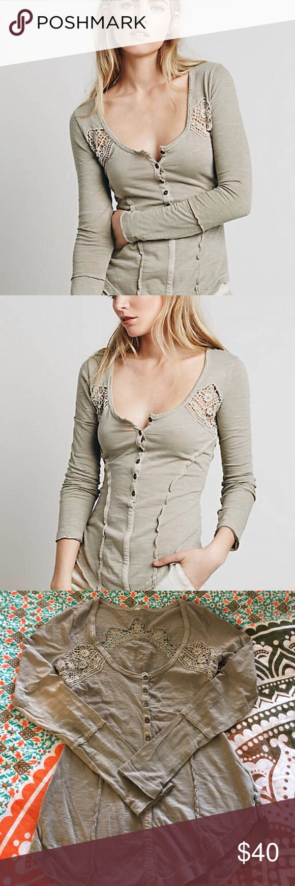 """Free People Keepsake slub knit long sleeve henley Very cute and flattering top! Slub knit with crochet inset panels, looks great worn alone or over a contrasting tank top. Worn and washed once, EUC, no flaws. Color is """"stone"""", a tan/taupe neutral that goes with everything! Free People Tops Tees - Long Sleeve"""