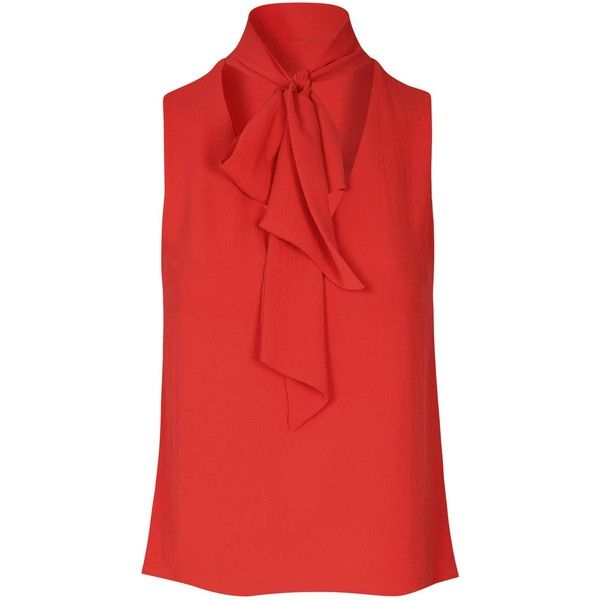 Glamorous Red Sleeveless Pussybow Blouse (£21) ❤ liked on Polyvore featuring tops, blouses, shirts, red, pussy bow blouses, red shirt, sleeveless shirts, v neck sleeveless shirt and sleeveless blouse