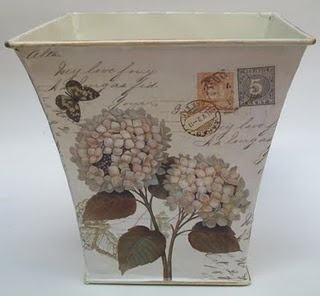decoupage pots, buckets etc for plants or storage