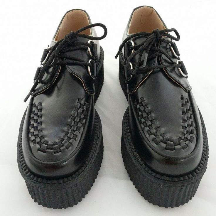 Tuk Black Leather Lace-up Platform Creepers Goth Womans Shoes Sz 5 USA 38 EU #Tuk #LaceUps #Casual