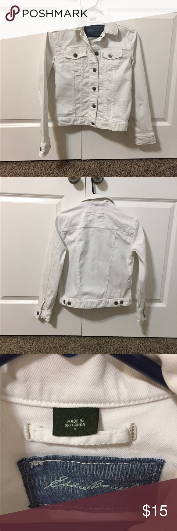 White Jean Jacket This white jean jacket is perfect for spring. It is very cute. I would keep it but I need to wear petite sizes. The jacket is in perfect condition. I only wore it once! Make me an offer! 😉 Eddie Bauer Jackets & Coats Jean Jackets