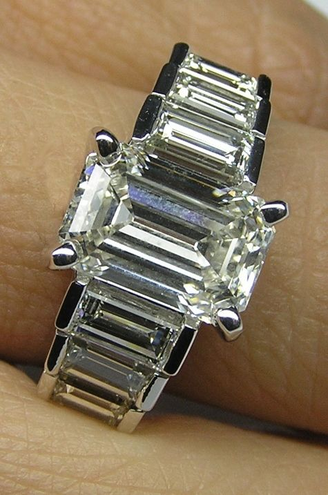 Emerald Cut Diamond Engagement Ring Step Up Baguettes